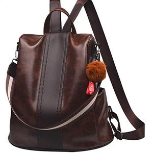 Brown Anti-theft Backpack Purse